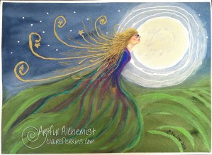 """""""Sister Moon"""", 12""""x9"""" acrylic ink on watercolor paper."""