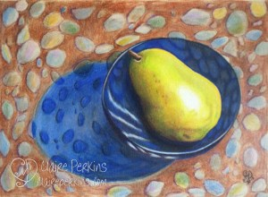 """Pear on the Rocks"" 9"" x 12"" Colored Pencil on Bristol Paper"