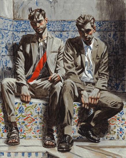 Mark Beard, Bruce Sargeant, Two Men on Tiled Seat