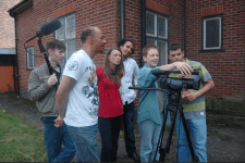 The crew on the set of %22Salford Revisited%22