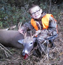 Michael Scott's first buck. The 9-pt 175 lb deer was harvested in Montgomery County in October 2013.