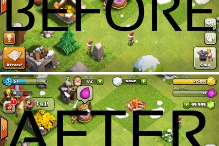 before after aplly clash of clans hack