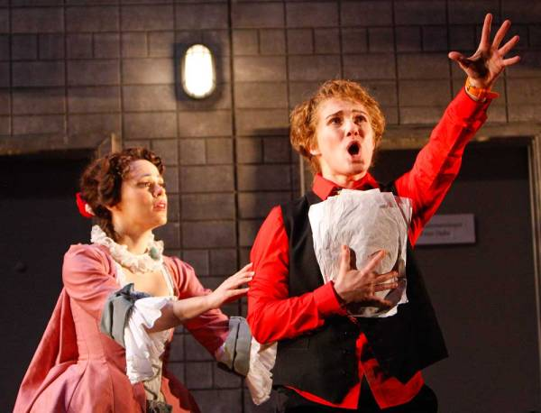Zerbinetta (soprano Rachele Gilmore) responds to the Composer, (Edyta Kulczak)  Jeffrey Dunn for Boston Lyric Opera