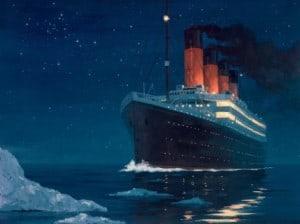 Titanic Films: Sinking the Titanic:  Titanic sinking painting