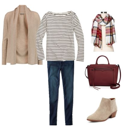 taupe cardigan - striped top - jeans