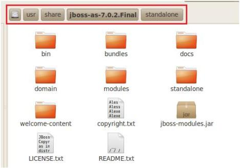 Extracted files for JBoss Standalone installation