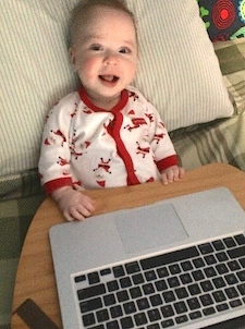 Ezra helping daddy write this post.