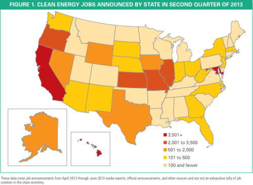 Top 10 US green jobs map 2Q 2013