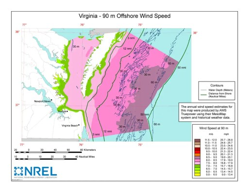 Virginia offshore wind potential