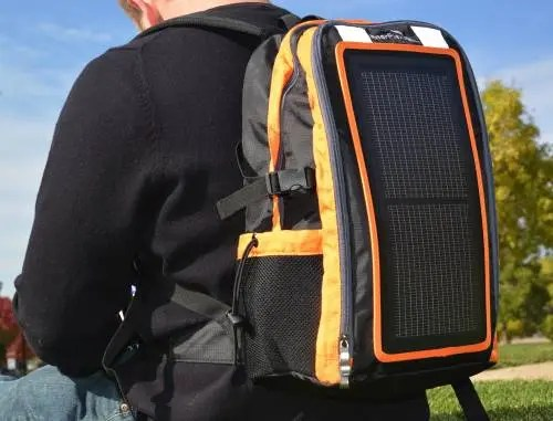 Ascent integrates thin film solar module into backpack.