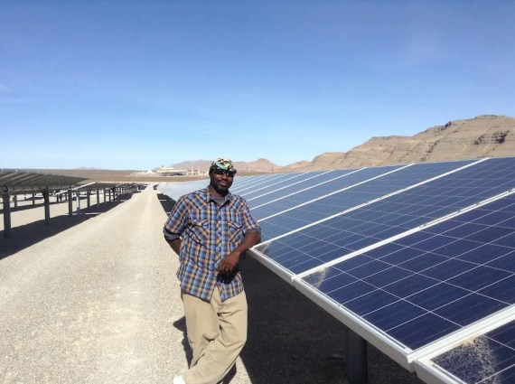 SunEdison technician at ABB solar power plant in Nevada.