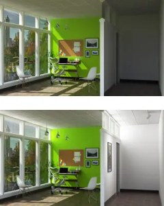 This rendering depicts how an office might appear with SmartLight off (above) and on (below). Sunlight is directed to different spaces, including to a