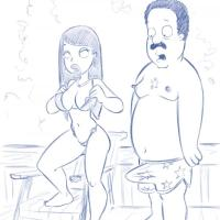 Cleveland can't stash his arousal when Roberta's nip pops out of her lil' lil' swimsuit.