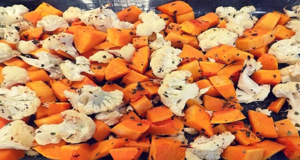 Yummy Roasted butternut squash and cauliflower with sage