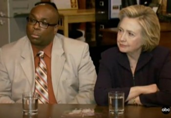 Hillary explaining her anti-coal stance to a coal miner.