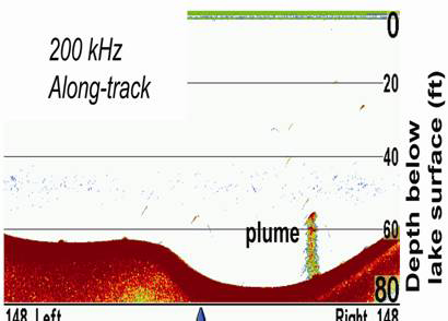 A methane plume imaged by a fishfinder operated at 200 kHz in Upper Mystic Lake near Boston.