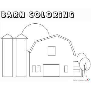 Contemporary Barns Coloring Pages Farm Silos Coloring Pages Barn ...