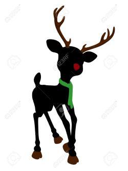Small Of Reindeer Head Silhouette