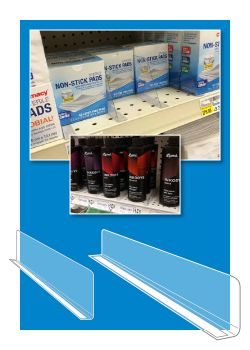 Clear Econo-Line Shelf Dividers separate merchandise on POP display shelving system
