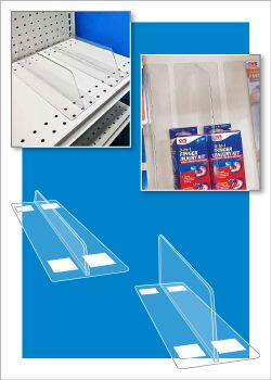 clear shelf dividers used for POP merchandising displays in retail