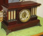 Mahogany Seth Thomas Adamantine Mantel Clock, 6 Celluloid Half Pillars