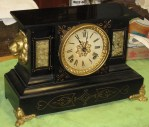Ansonia Enameled Iron Black Mantel Clock