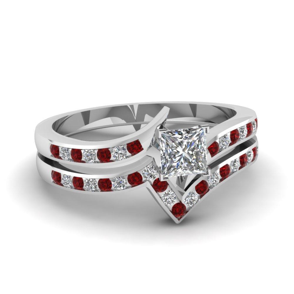 monolith abigail ruby wedding rings Abigail Diamond and Ruby Wedding Band Ring