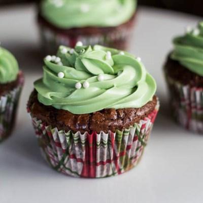 Minty Brownie Espresso Cupcakes