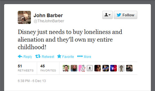 @TheJohnBarber: Disney just needs to buy loneliness and alienation and they'll own my entire childhood!