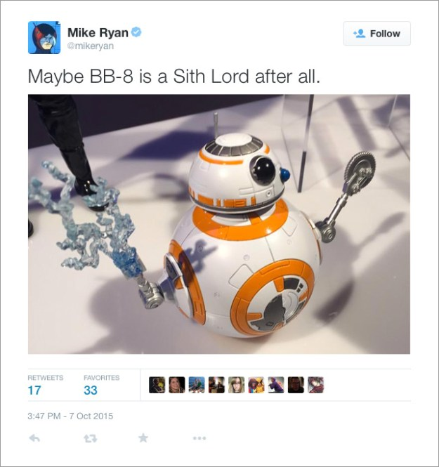 @mikeryan: Maybe BB-8 is a Sith Lord after all.