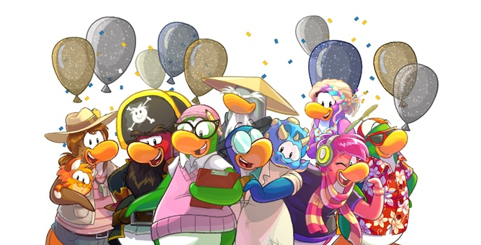 Club Penguin Blog: 10th Anniversary Party Sneak Peek Mascot Group