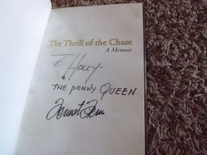 "My autographed copy of ""The Thrill of the Chase"""