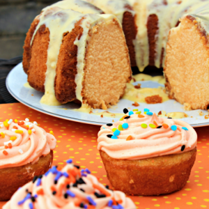 Orange Fanta Halloween Cake {and Halloween Cupcakes!}