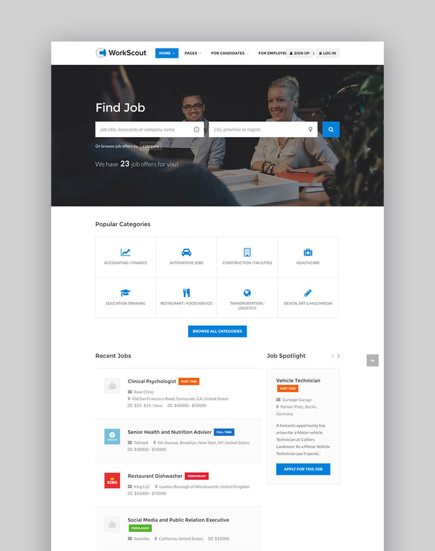 20 best wordpress directory themes to make business websites 2017 workscout job board business directory wordpress template accmission Gallery