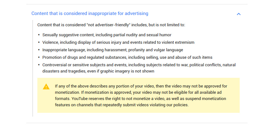 YouTube Advertiser Friendly Content