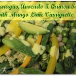 Asparagus, Avocado, and Quinoa Salad. Mango Lime Vinaigrette. Vegan