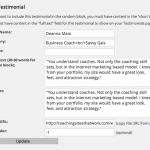 testimonial input screen