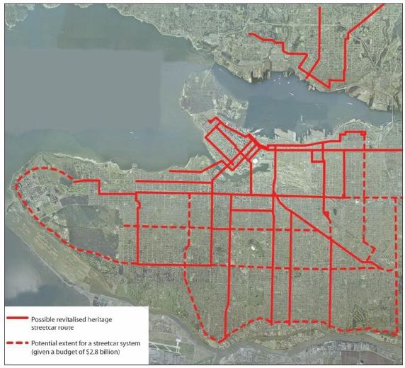 Image showing a grid of transit lines, serving nearly the entire area of Vancouver