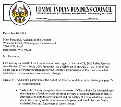 lummi planning letter to county planning