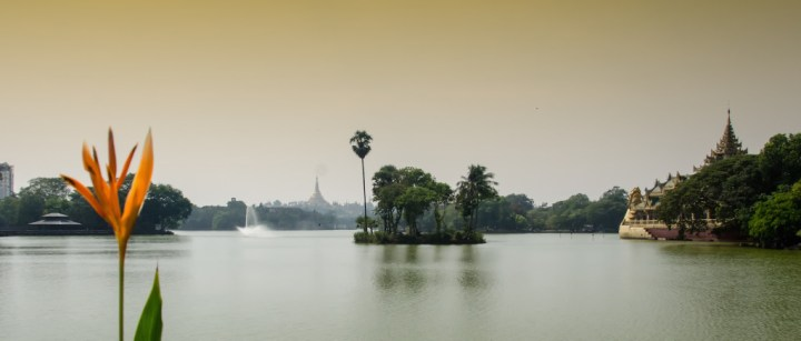 Lake in Yangon, view to Shwedagon Pagoda
