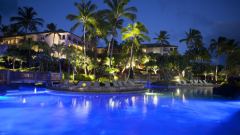 An evening view of the Grand Hyatt Kaua'i