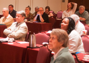Emily Reed (front right) and part of audience for Dr Geyman's presentation