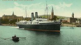 RMS Leinster departing Kingstown on a mail run