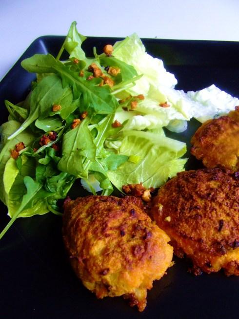 Hamburguesas de coliflor y zanahoria al horno