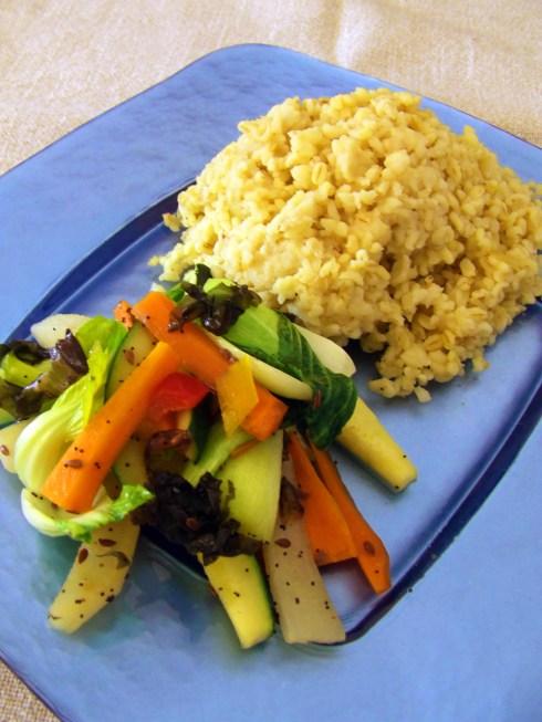 Bulgur con verduras salteadas