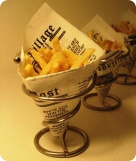 french fries in holder with newspaper