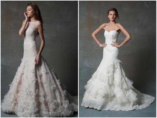 wedding dress inspiration gowns ruffles, flowers lace