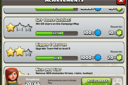 achievements menu clash of clans