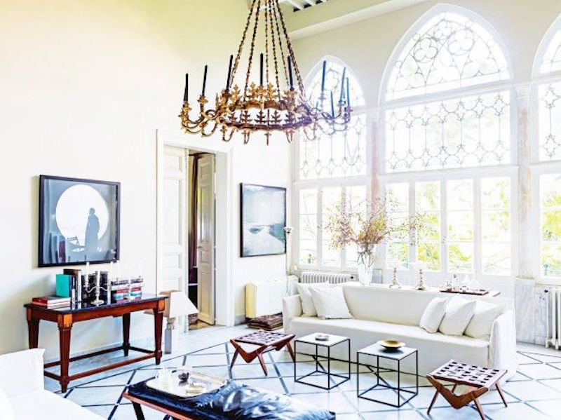living room chandelier white couch vogue living