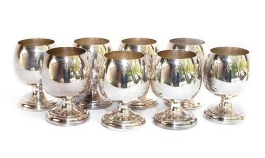 8 silver digestif goblets
